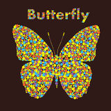 Butterfly from dots. Creative design. Dots in shape of butterfly, rainbow colors for your design stock illustration