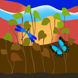 Butterfly and dragonfly in grass. Butterfly and dragonfly flying in grass on colorful background Royalty Free Illustration
