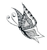 Butterfly drawing. A black and white drawing of a large butterfly Stock Photo