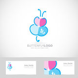 Butterfly drawing logo Stock Photo
