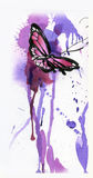 Butterfly drawn with a pencil,brush and watercolor Stock Image
