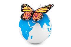 Butterfly with Earth Globe Royalty Free Stock Images