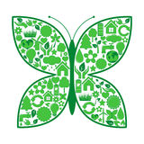 Butterfly of ecology icons Stock Photography