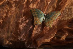 Butterfly effect. Silky textile background texture with butterfly stock photography