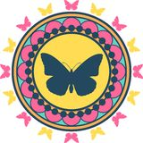 Butterfly Emblem Illustration Stock Photography
