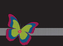 Butterfly. Embroidery butterfly ribbon on black background Royalty Free Stock Photography