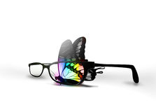 Butterfly and eyeglasses Stock Photo