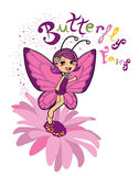 Butterfly Fairy. A cute butterfly fairy standing on a flower Royalty Free Stock Photos