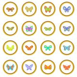 Butterfly fairy icons circle Stock Images