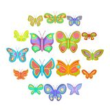 Butterfly fairy icons set, cartoon style. Butterfly fairy icons set. Cartoon illustration of 16 butterfly vector icons for web royalty free illustration