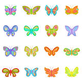 Butterfly fairy icons set, cartoon style Stock Photography