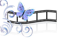 Butterfly on film stripe. Illustration of a beautiful butterfly and floral elements on a simple film stripe Royalty Free Stock Image