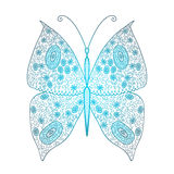 Butterfly. Of fine lines in blue color vector illustration