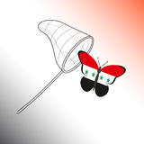 Butterfly with the flag of Syria and landing net Royalty Free Stock Photo