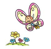 Butterfly flight flowers cartoon illustration Royalty Free Stock Image