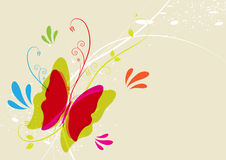 Butterfly and floral. Design illustration Stock Images