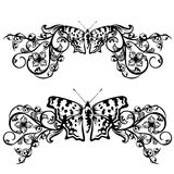 Butterfly floral border Stock Photography