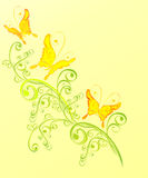 Butterfly and floral ornament, vector illustration Royalty Free Stock Photo