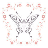 Butterfly with floral pattern frame Stock Photography