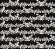 Butterfly and floral white lace seamless pattern Royalty Free Stock Photo
