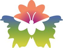Butterfly and flower. Illustrated isolated image Royalty Free Stock Photos