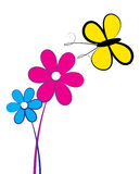 Butterfly on flower. Simple and colorful illustration of butterfly on flowers Stock Photography