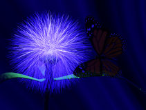 Butterfly and flower. Scene of the butterfly and flower  Executed in 3 D Stock Images