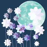 Butterfly and flower with big full moon on blue background Royalty Free Stock Photos