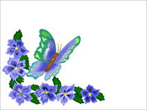 Butterfly Flower Border. Butterfly and flowers over white as a border for note cards or edging Stock Photos