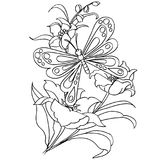 Butterfly and flower cartoon coloring page vector stock illustration