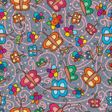 Butterfly flower cartoon seamless pattern Royalty Free Stock Images