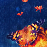Butterfly on the flower.digital painting Royalty Free Stock Photos