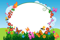Butterfly flower frame background stock illustration