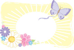 Butterfly and Flower Graphic. Butterfly and flower illustration with sun, yellow background and space for your text Royalty Free Illustration