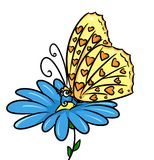 Butterfly flower insect cartoon illustration Stock Images