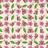 Butterfly flower leaf vertical horizontal seamless pattern Royalty Free Stock Images