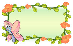 A butterfly and a flower plant frame Stock Photos