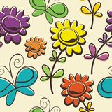 Butterfly and flower Seamless pattern design Royalty Free Stock Photography