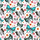 Butterfly and flower seamless pattern vector background Royalty Free Stock Image