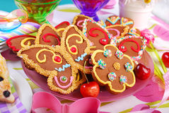 Butterfly and flower shaped gingerbread  cookies Royalty Free Stock Photo