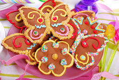 Butterfly and flower shaped gingerbread  cookies Stock Image