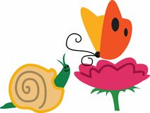 BUTTERFLY FLOWER SNAIL Stock Images