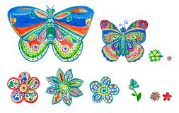 Butterfly flower watercolor set. Floral ornamental pattern. Hand made colorful art design as kid illustration for cloth