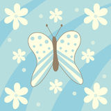 Butterfly and flowers. Floral background with one butterfly Royalty Free Illustration