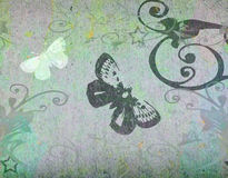 Butterfly and flowers. Butterfly and floral design on textured background royalty free illustration