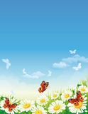 Butterfly and flowers royalty free illustration