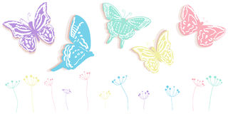 Butterfly and flowers abstract spring time banner vector background vector illustration