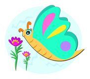 Butterfly and Flowers with Background Stock Images