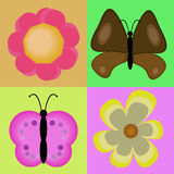 Butterfly flowers. On a colorful background Royalty Free Stock Photography