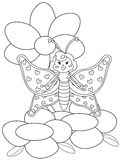 Butterfly with flowers coloring page Royalty Free Stock Photography